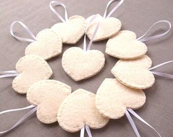 Set of 10 cream heart decorations, ivory wedding decor, wedding favors, felt heart ornaments, off white felt hearts, bridal decor