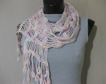 Sciarpa di cotone,fatto all'uncinetto , sciarpa leggera,fatto a mano,accessori,accessori donna,sciarpa colorata,uncinetto.