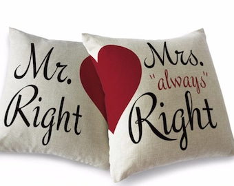 "Pair of ""Mr and Mrs Right"" 45x45cm cushion covers"