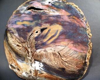MYTHICAL FIRE BIRD - Wall Art , Interpretive Transformation Art -  Sunset Skies - Water Colors in Clay Renderings -  Susan Ellebruch, Artist