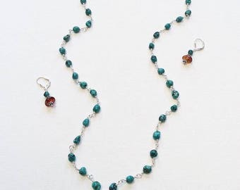 Turquoise wrapped in Sterling silver with Amber pendant