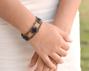 Art Deco Wedding Bracelet, Wedding Jewelry, Vintage Bridal Bracelet, Czech Glass, 1930s Bracelet, Flapper Jewelry, Link Bracelet, BR540