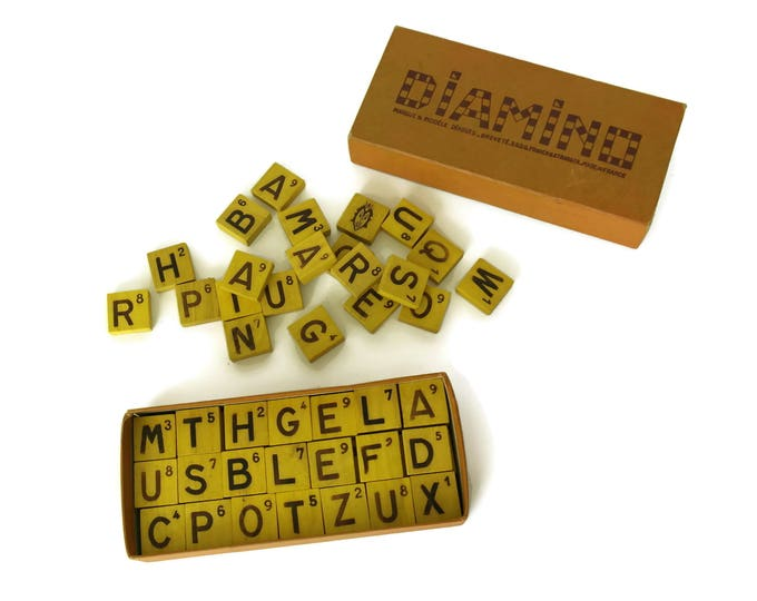 French Diamino Board Game. Vintage Wooden Letter Tiles. Crossword Puzzle.