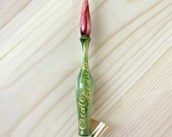 Rose Bud Hand-painted Wooden Oblique Calligraphy Pen