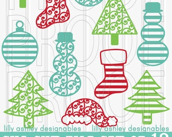 Christmas SVG Files Set of 12 cut files includes svg/png/jpg formats! Commercial use approved ornament svg tree svg snowman svg stocking svg