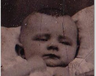 TINTYPE PHOTOGRAPH, 1800's Baby Tied in Chair, Odd Eyes and Hair, Deathlike Pose, Antique Picture