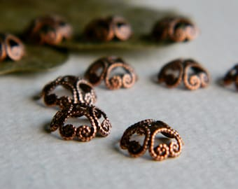 Filigree Bead Caps Bohemian Findings Antique Brass Copper Bead Caps Brass Findings Jewelry Making Brass Beadcaps 8mm Made In USA (10pcs)