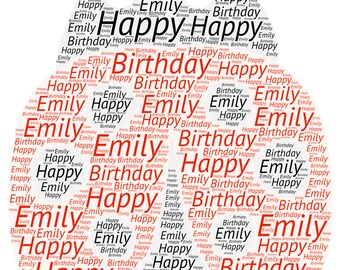Personalised Word Art Greetings Card - Ladybird - Birthday - Anniversary - Special Occasion- Thank You - Teacher
