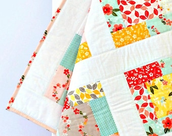 Baby Girl Quilt baby shower gift baby gift patchwork quilt pink coral green yellow flowers handmade baby blanket baby quilt