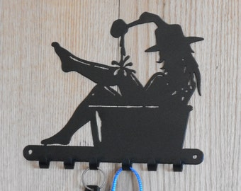 Cowgirl in a tub key holder  [4500460]