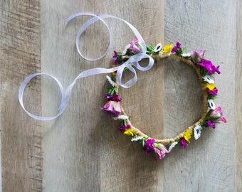 Dainty Daisies Fresh Flower Crown - Purple Roses- Yellow Wildflowers - White Daisies