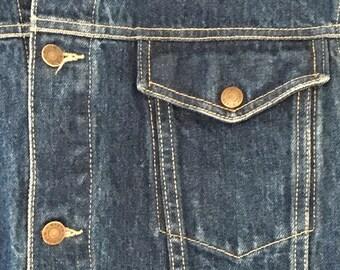 Vintage Calvin Klein denim Sleeveless Trucker Jacket from the 1980's.