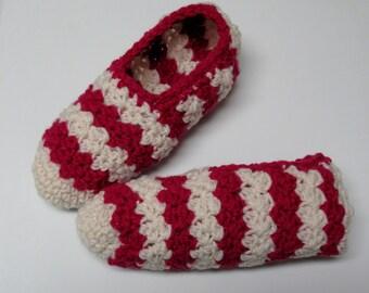 PATRON PDF no 6 Pantoufles crochet rayures deux couleurs pour femme, en français, par 3petitesmailles, chaussons, adulte