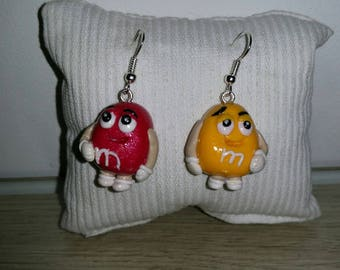 Candy mms in polymer clay earrings