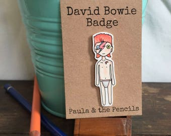 David Bowie Pin Badge - Aladdin Sane - Bowie Gift - Jewellery - Rock Music - Ziggy Stardust - Birthday - Bowie Fan - Quirky - Lightning Bolt
