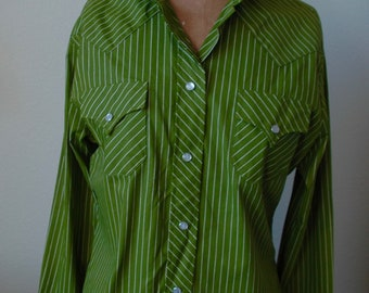 Vintage H BAR C California Ranchwear Shirt - Ride 'em Cowgirl in Avocado Stripes""