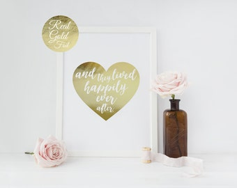 And They Lived Happily Ever After, Gold Foil Print, Couple Print, Wedding Print, Love Print, Valentines Day Poster, Wedding Gift, Gold Decor