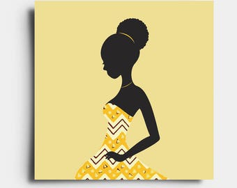 African Print Lady - Greetings Card - Yellow