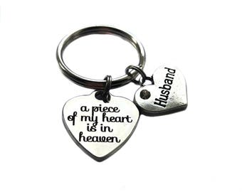 """Stainless Steel """"A Piece Of My Heart Is In Heaven"""" Heart Charm, Antique Silver """"Husband"""" Heart Charm Keychain, In Memory of, Memorial Gift"""