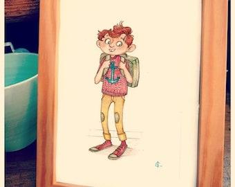 """Alban"" original illustration with colored pencils."