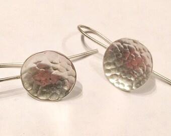 Sterling Hammered Disc Earrings