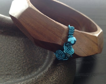Wood Bangle Bracelet with blue wire-wrapped detail