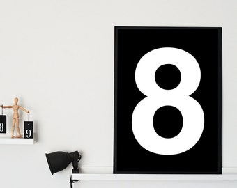 Number 8 Printable Poster -A1 , 50X70 cm, A4 - Nursery Print Number - Scandinavian Poster - Typography Print - Number 5 Wall Art