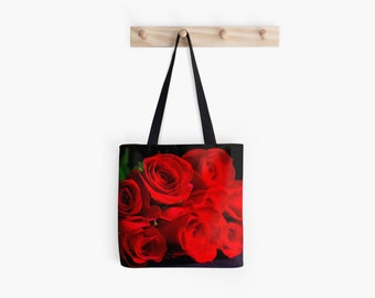 Red Roses Tote Bag ~ Flower Photo ~ Red Market Tote  ~  Botanical Floral Accessory, Dramatic Gift Idea for Gardener, Black and Red Tote Bag