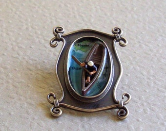 Map Brooch Traversing Tasmania 3D Scene Stealer in Sterling and Resin  Tiny Camp Canoe and People Downsizing Miniature