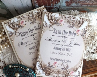 Save the Date Cards - Handmade - Romantic - Elegant - Wedding Save the Date Cards -  by avintageobsession on etsy