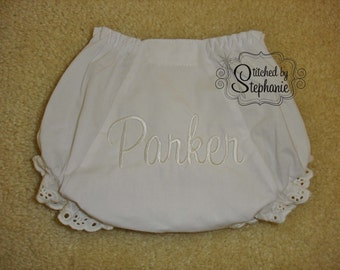 Monogrammed baby bloomers white name Baptism Christening Wedding diaper cover eyelet ruffle panties embroidered personalized