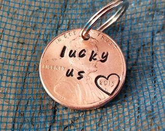 handstamped anniversary gift LUCKY US penny with heart stamp ,lucky penny,stamped coin, wedding, add on, birthday gift, couples gift