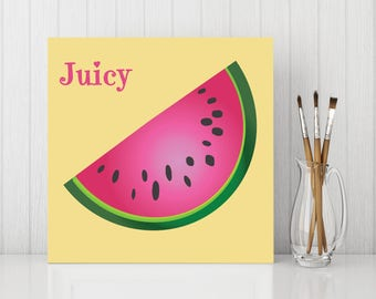 Watermelon Canvas , Watermelon Art, Add Name or Word to Canvas, Kitchen Fruit - CC022