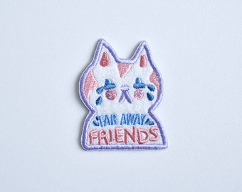 Iron on patch // Far Away Friends // Long Distance Relationship // Best Friends // cat // Funny embroidered patch for jacket