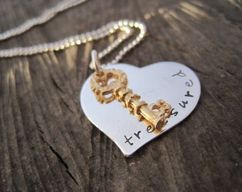 Treasured Heart Charm Necklace - Heart Jewelry - Silver Stamped Heart- Personalized Jewelry- Romance - Mixed Metal Charm Necklace