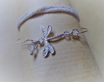 925 sterling silver Bangle Bracelet / Swarovski Crystal and Dragonfly