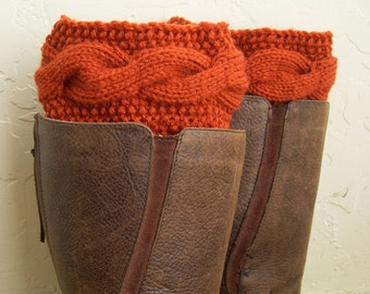 Paprika Boot cuffs - Orange Leg Warmers - Cable knit boot toppers - Paprika legwarmers - Cozy Boot Cuffs - Winter Fashion Acessory