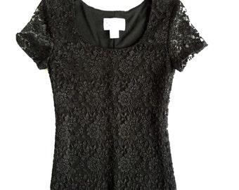 90's Black Lace Maxi Dress