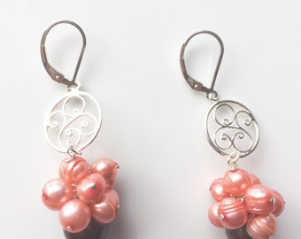 Coral Pearl Cluster Earrings, Large Rainbow Pearls, Fancy Freshwater Pearl Jewelry, Sterling Silver Filligree, Lever Back Ear Wires