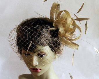 Gold sinamay headpiece and detachable veil - gold bridal birdcage bandeau veil