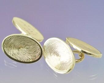 Your Kids Fingerprints on Silver Cufflinks