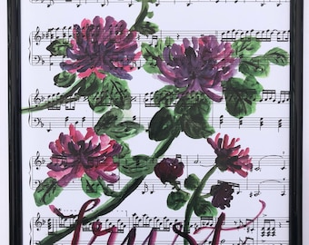 Floral Hand Painted Scripture Art with a Music Sheet Background