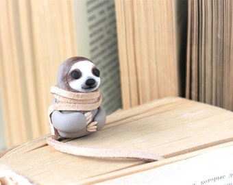 Sloth bookmark cute miniature sculpture animal dangles cute gift Figurine Sloth Travel Sloth Amulet ready to ship paper clip