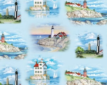 Fat Quarter Lighthouses Scenes Cotton Sewing Quilting Fabric