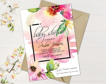 Watercolor floral baby shower invitations baby shower watercolor floral baby shower invitations baby shower invites couples baby shower watercolor floral water lilly invites vintage filmwisefo