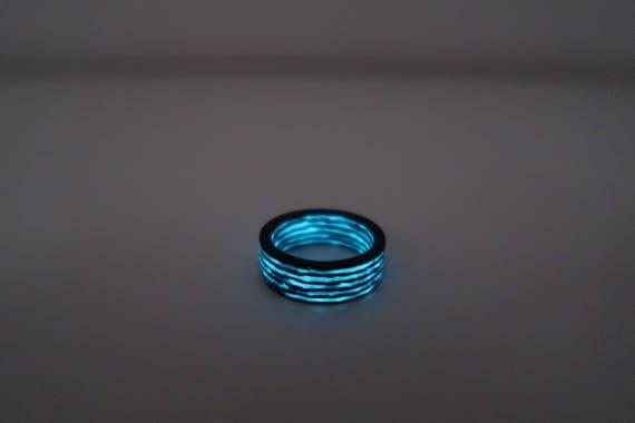 Carbon Fiber Glow in the darkmens wedding ringAqua glow