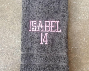 NEW Sport's Name and Number Sweat Towel, Team Player Sweat Towel, Gym Towel, Personalized Sweat Towel