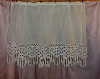 Vintage fabric and old lace curtain: Stamen and crochet