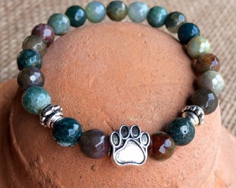 Pet Lovers! Natural agate gemstone yoga bracelet with dog paw center bead.
