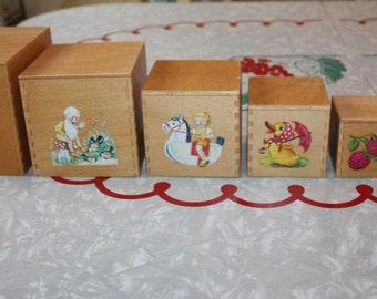 Darling Wooden Stacking, Nesting Blocks, Vintage Set of 6